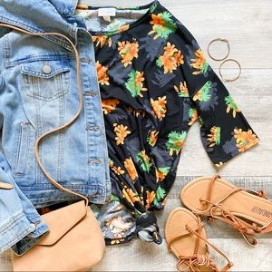 LulaRoe floral high low short sleeve tunic/ top